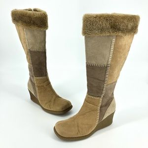 Lower East Side Zip Up Brown Suede Tall Boots Vtg